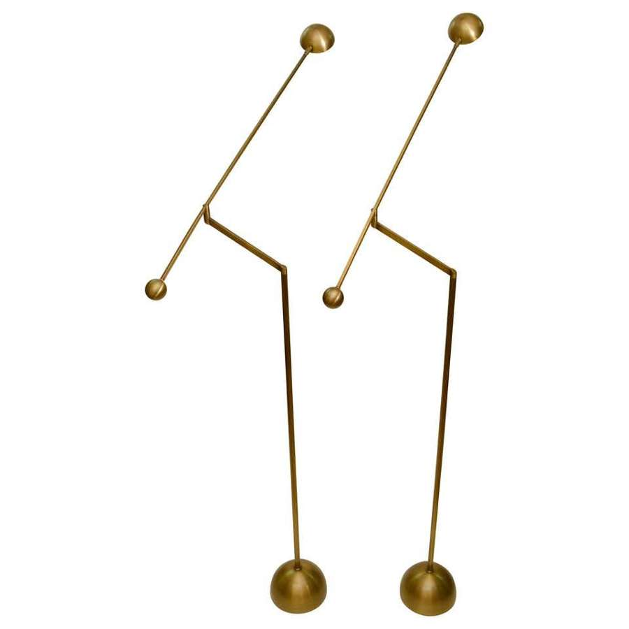 Pair of Brass Counter Balance Floor Lamps