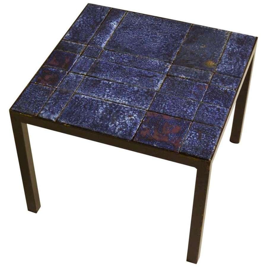Blue Ceramic Tile Square Side Table on Black Frame Italy