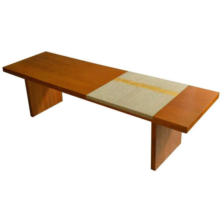 Modern Walnut Coffee Table with Ivory & Gold Mosaic