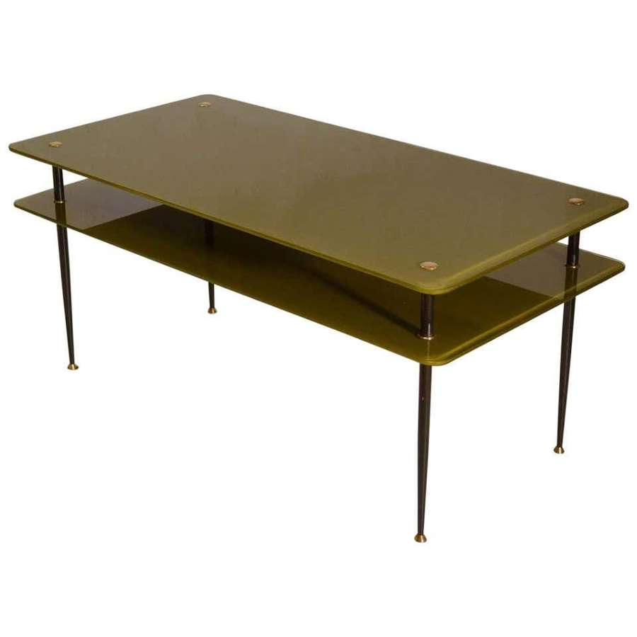Olive Green Glass Coffee Table, Italy, 1950's