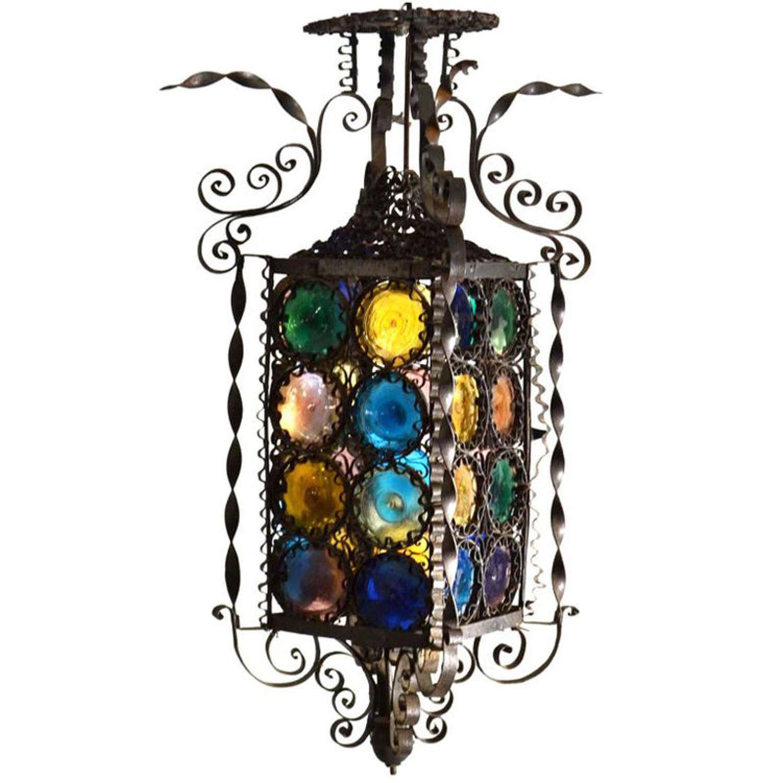 Venetian Lantern Wrought Iron and Glass, Italy, 1910