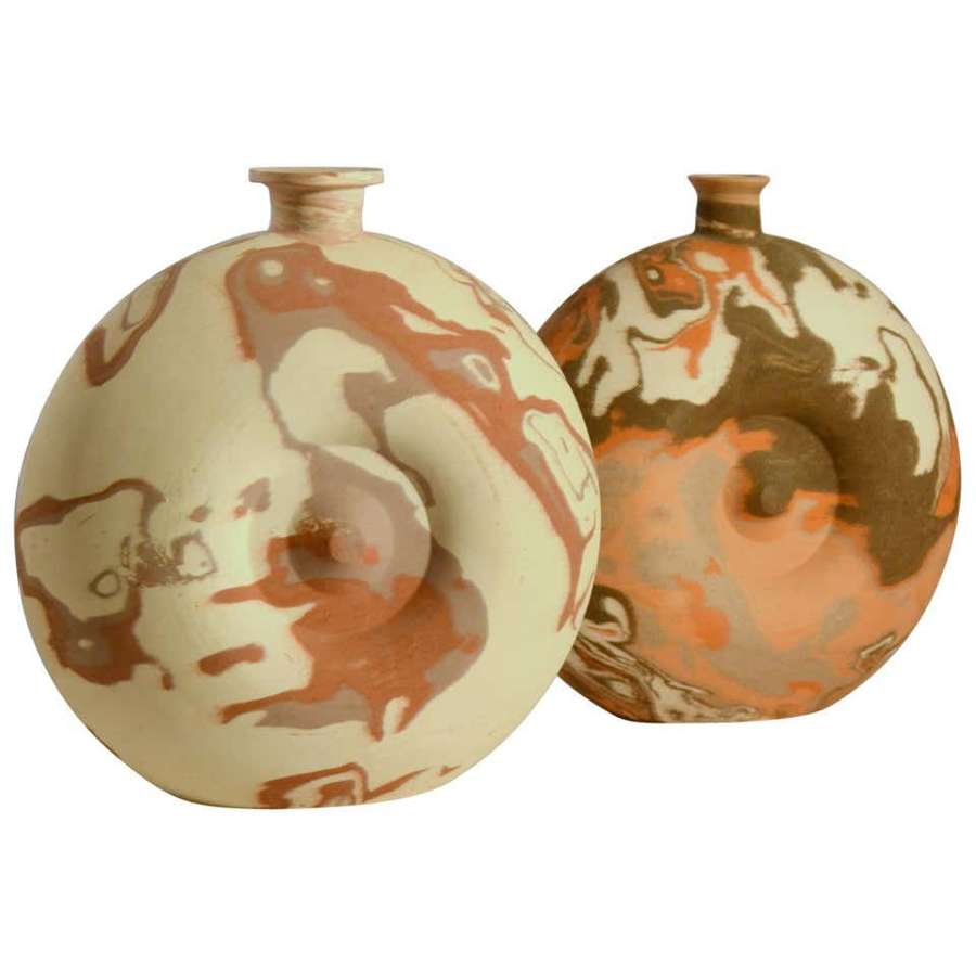 Pair of Decorative Studio Pottery Vases in Earth Tones