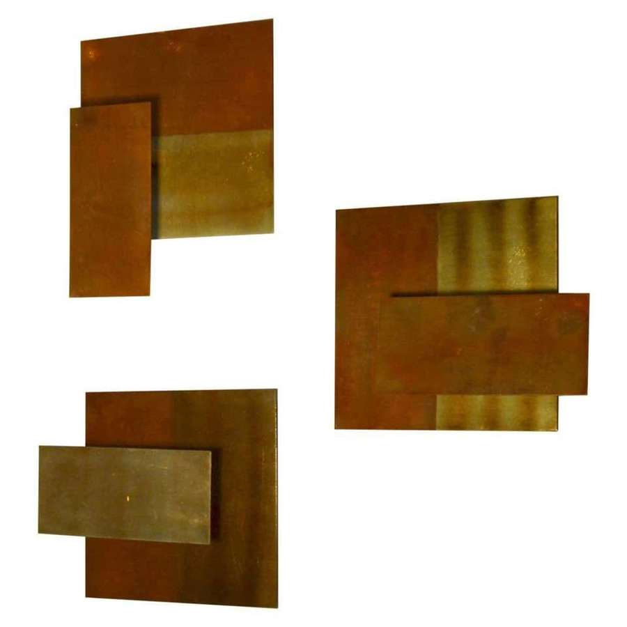 Minimal Geometric Brass Wall Candle Holders, Italy 1960
