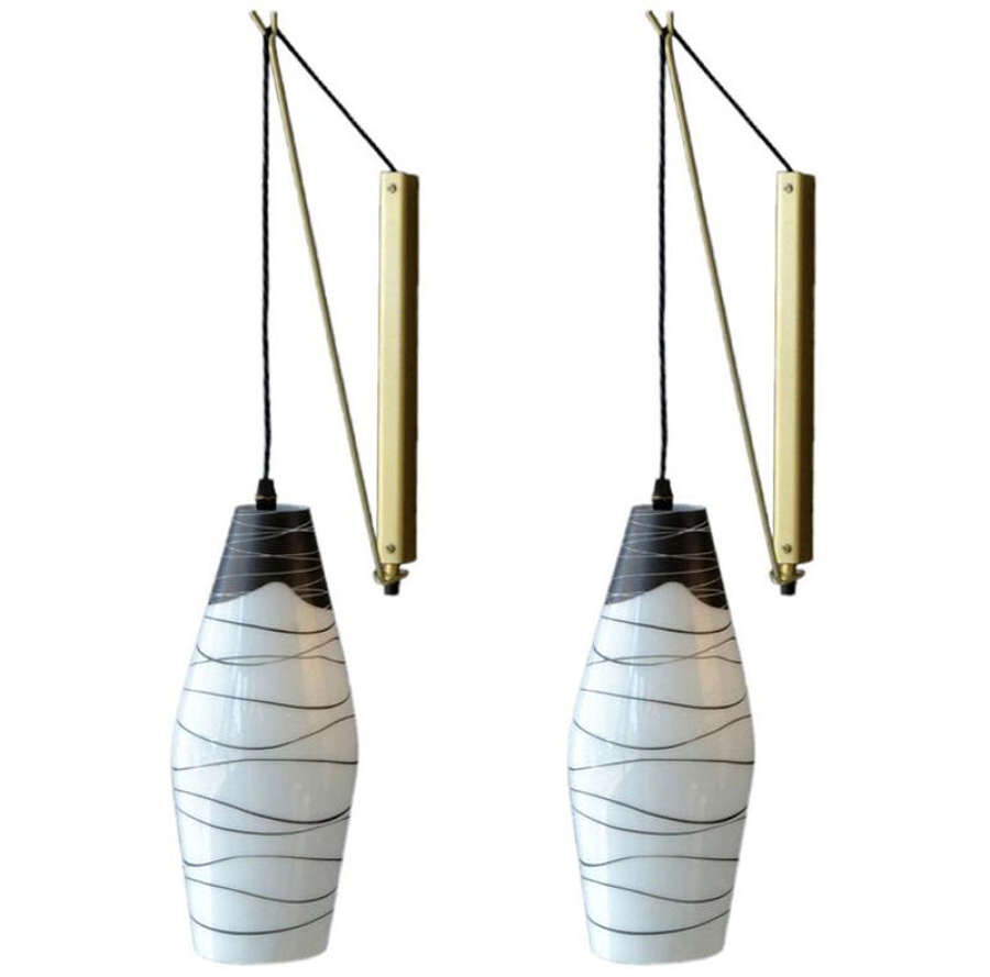 Pair of Modernist Czech Black and White Glass Wall Lights