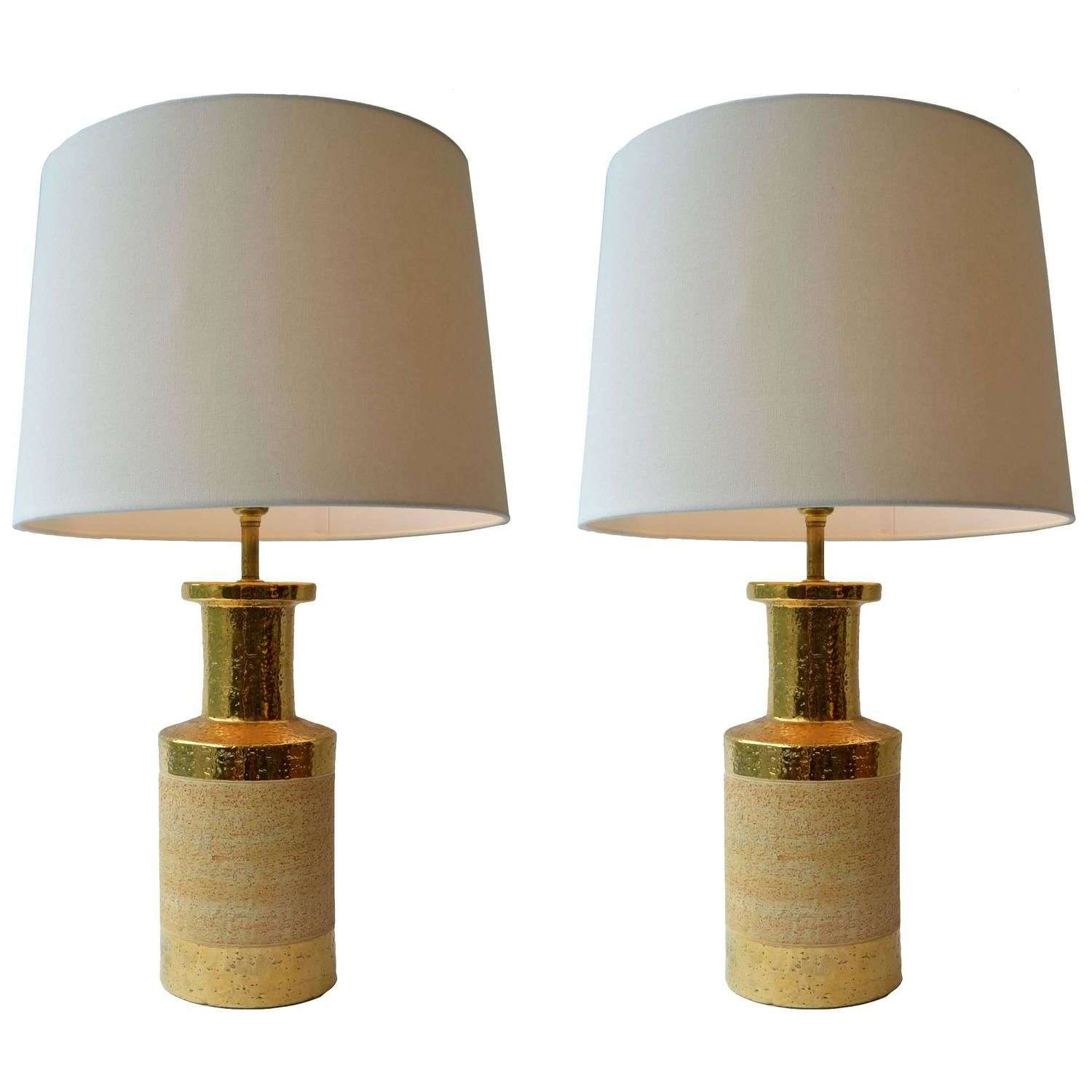 Pair of Gold and Ceramic Table Lamps by Bitossi, Italy