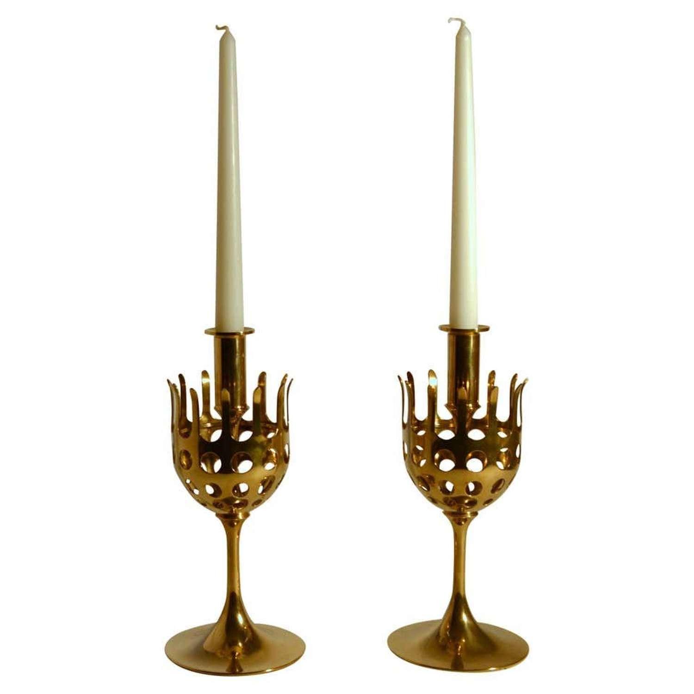 Pair of 1960's Scandinavian Brass Candle Holders