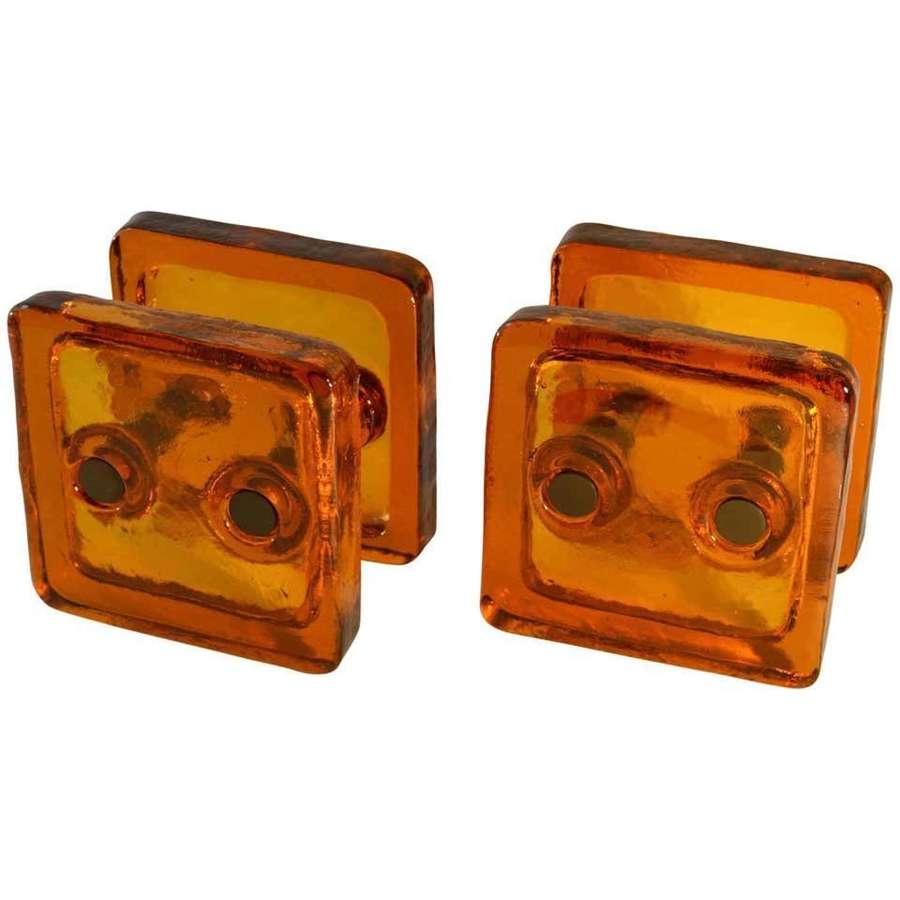 Double Door Handle Pair Push and Pull in Orange Glass