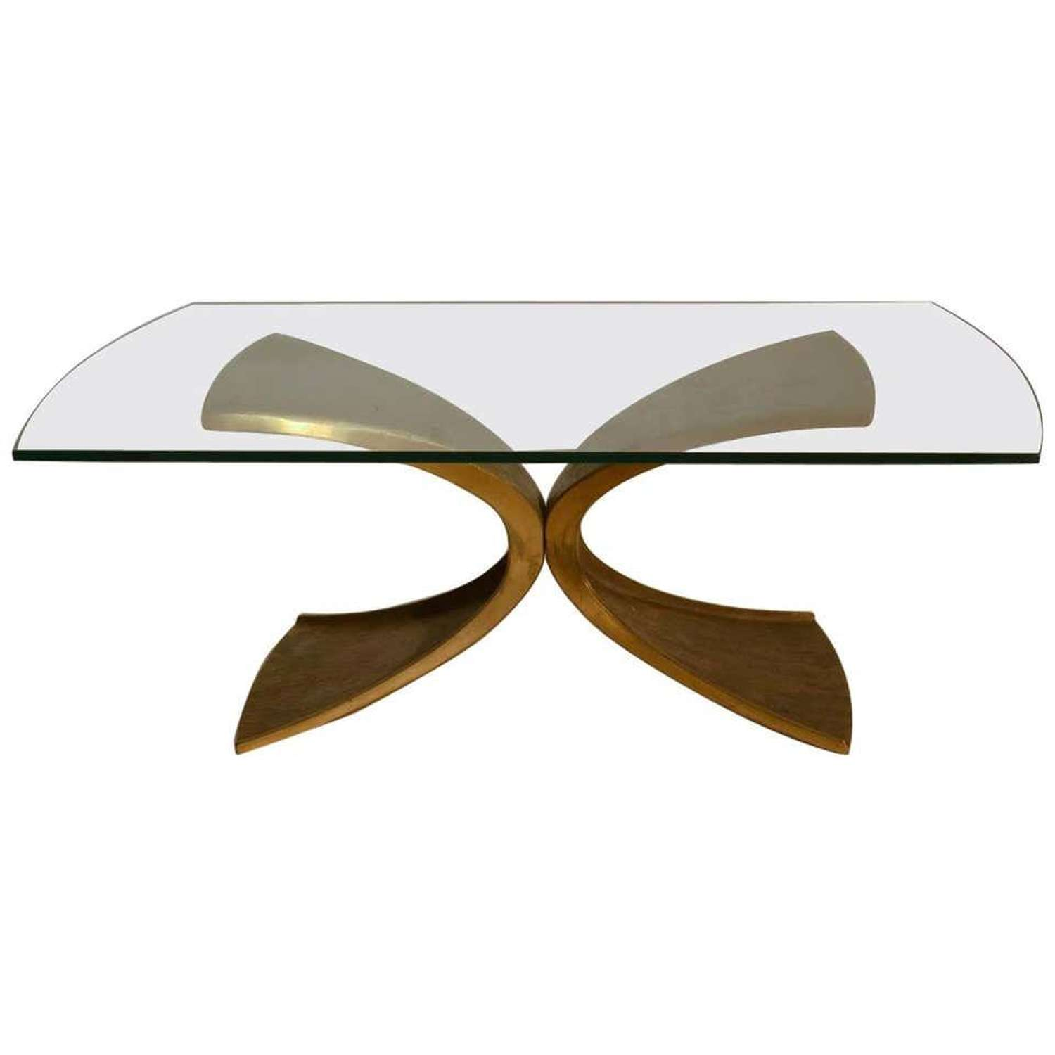 Coffee Table in Bronze & Glass by Luciano Frigerio 1980's