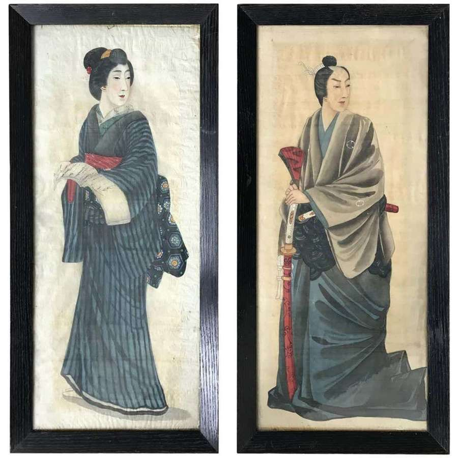 Portraits of a Noble couple Painted on Silk, Japan 1912