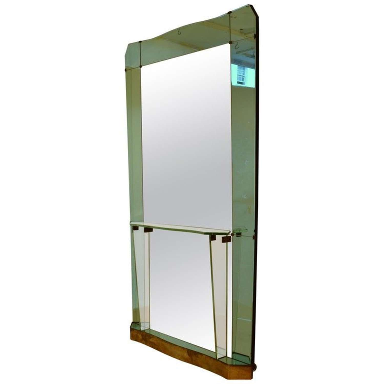 Large Cristal Arte Console Mirror Emerald Green, Italy