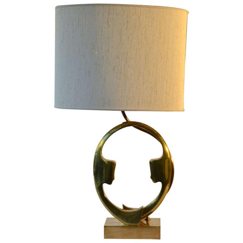 Bronze Willy Daro Table Lamp of profiles 1970s Belgium