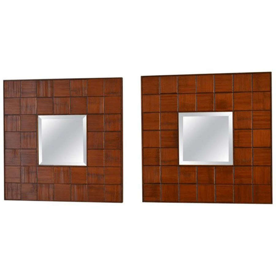 Pair of Square Mirrors Carved Wood Relief, 1960's, Italy
