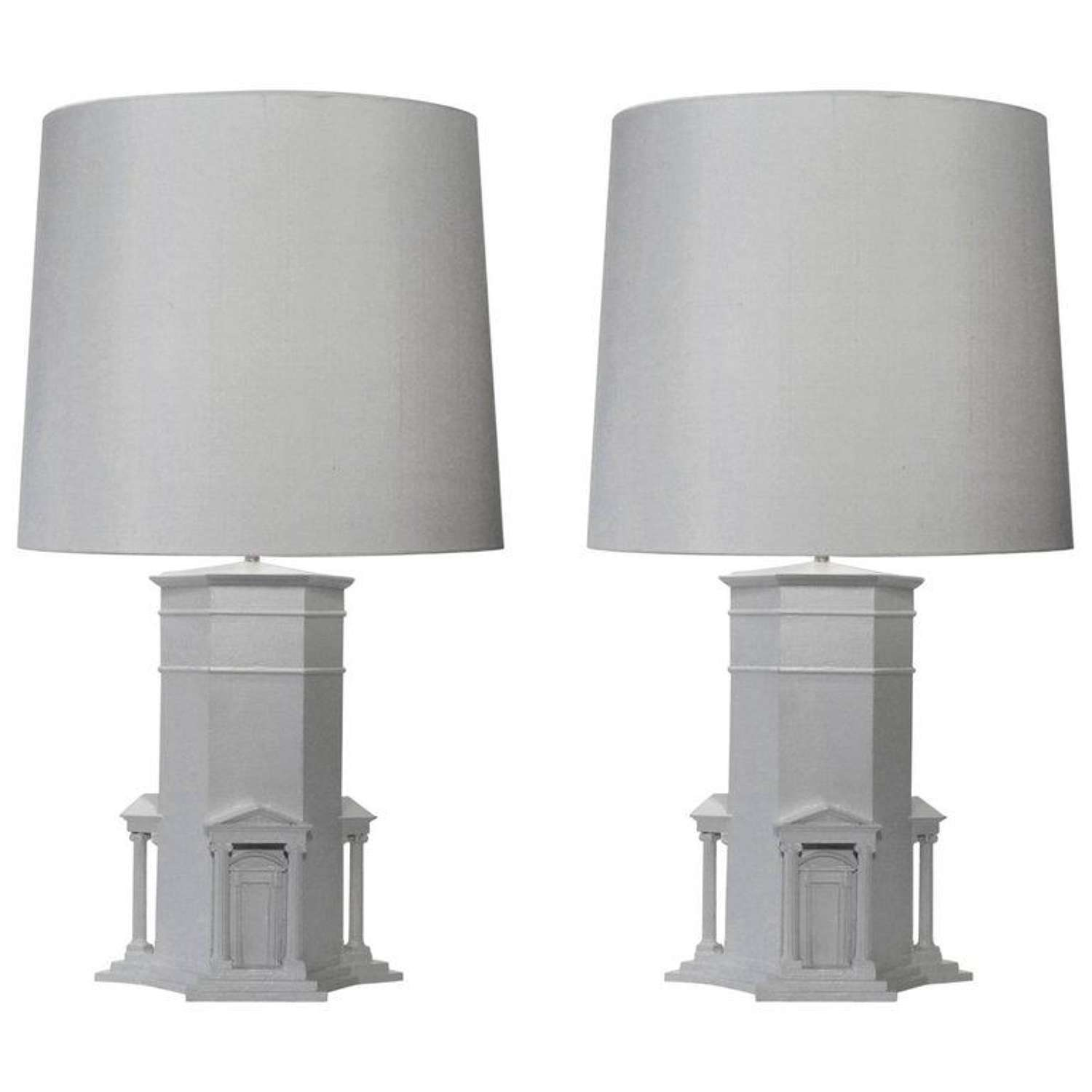 Pair of White Hand Sculpted Grand Tour Lamps Athens