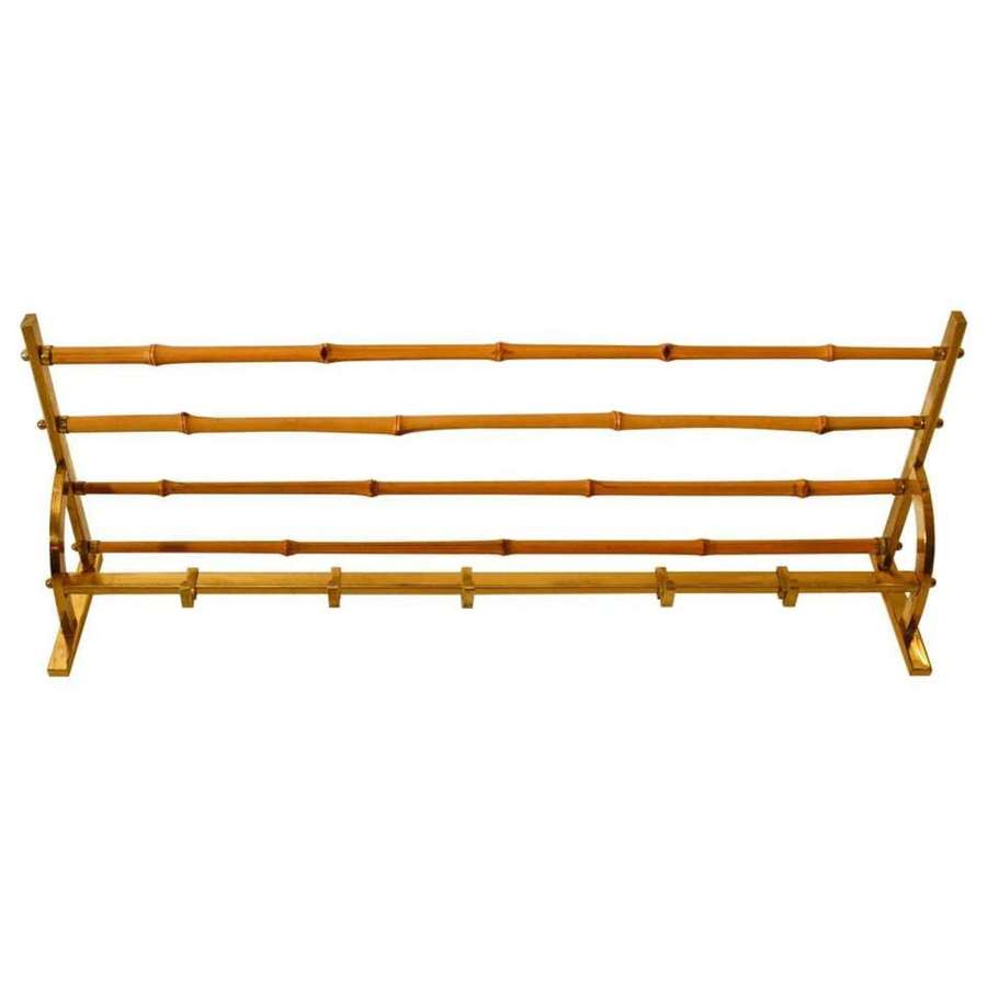Wall Mounted Coat & Hat rack in Brass & Bamboo, 1950s