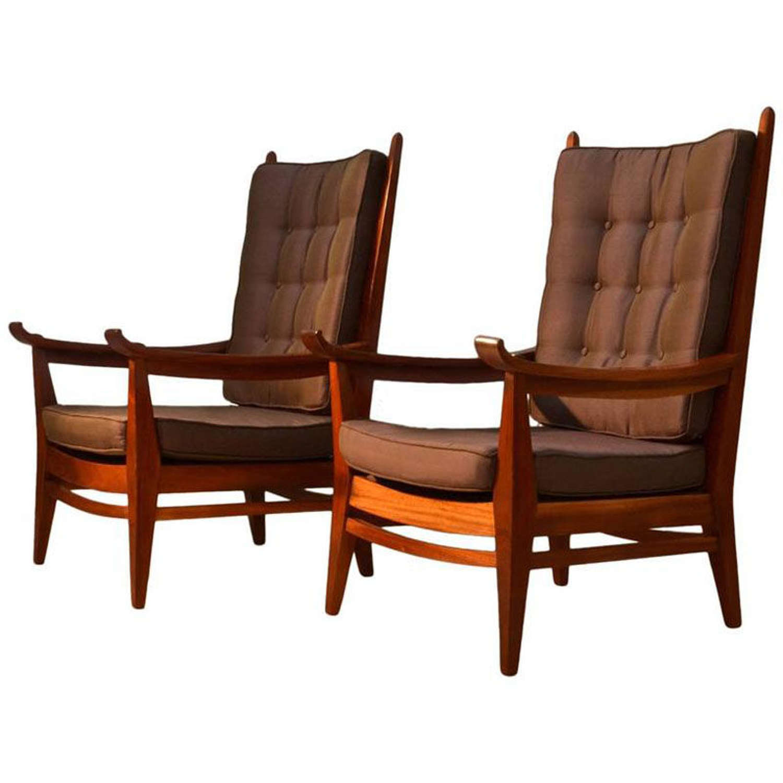 Pair of 1931 Bas V. Pelt Mahogany Lounge Silk Chairs
