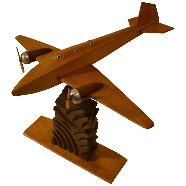 1950s French Wooden Passenger Model Plane Sculpture