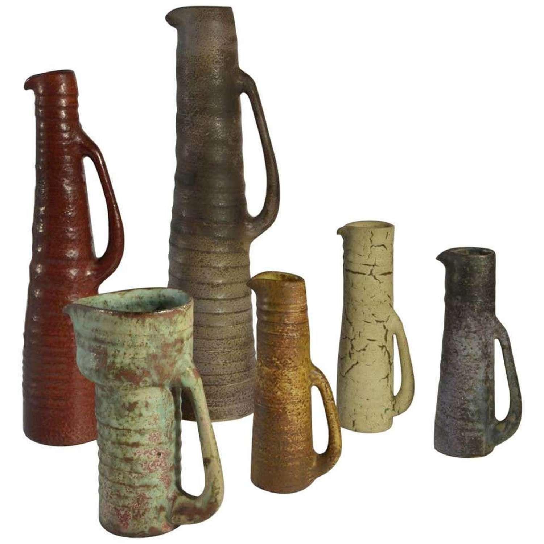 Group of Six Ceramic Studio Vases in Muted tones, 1960s