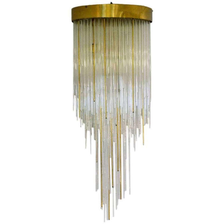 Italian Flushmount Cascading Chandelier in Glass and Brass