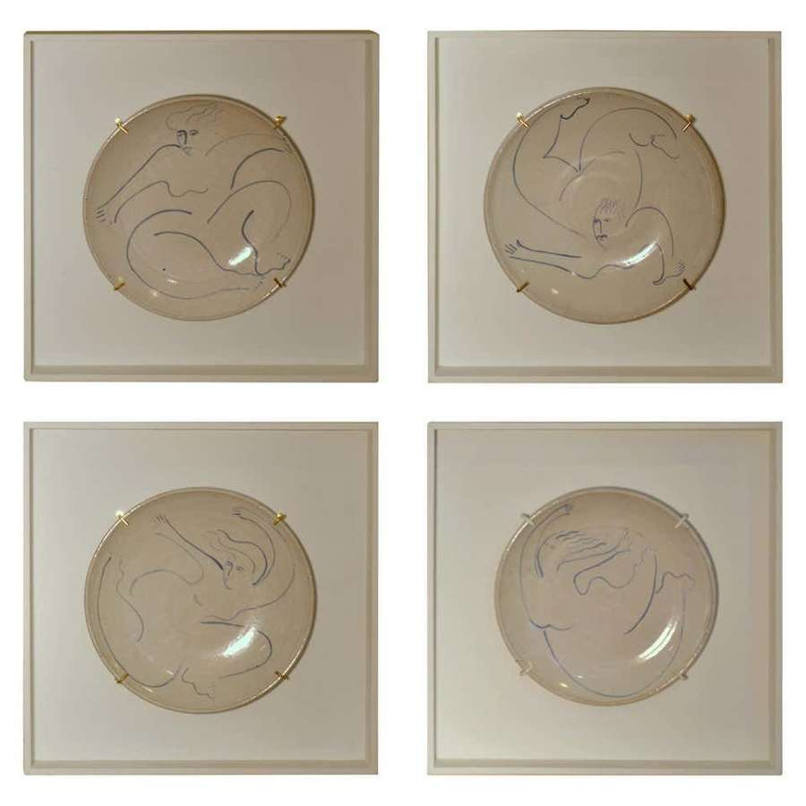 Set of Four Hand Painted Wall Plates of Dancing Figures
