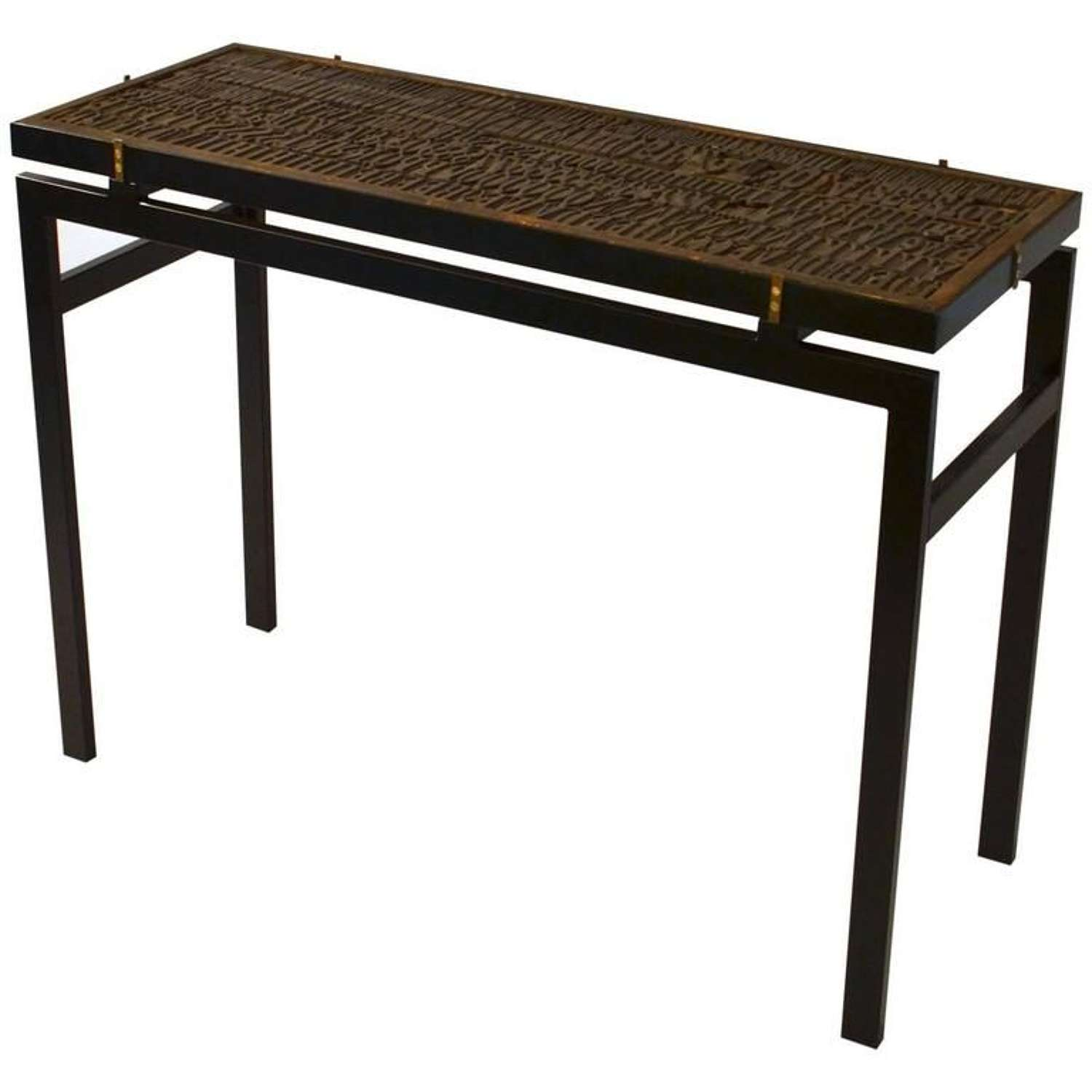 Console Table with Early 20th Century Printing Blocks