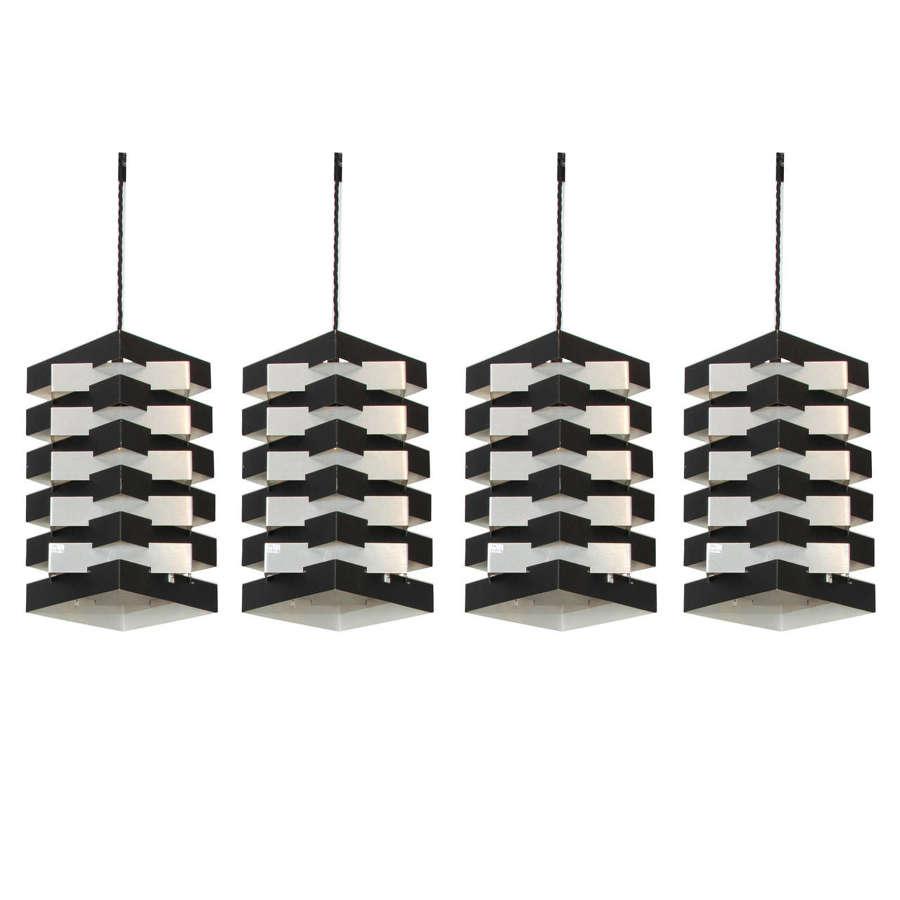 Four Black and Aluminium Pendant Lamp by Hoogervorst