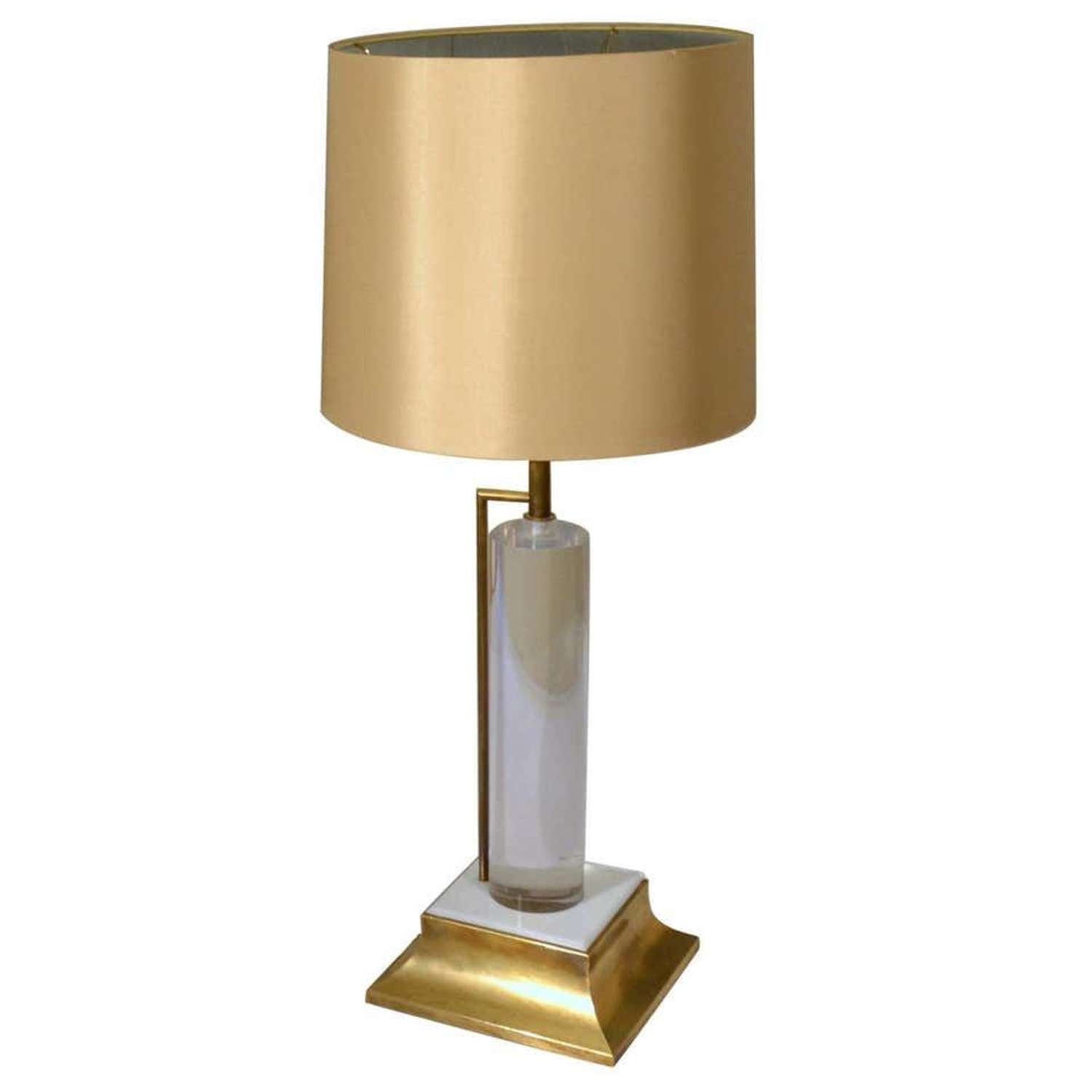 Lucite and Brass Italian 1960s Table Lamp with Silk Lamp Shade