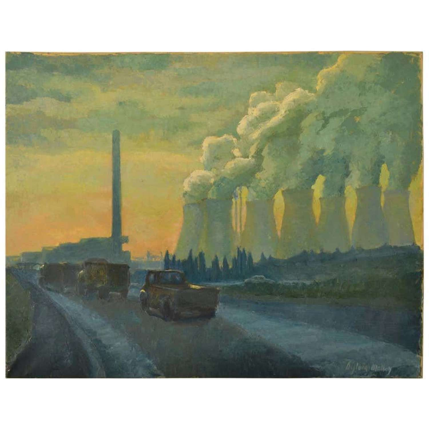 Landscape Painting of Cooling Towers by Sylvia Molloy