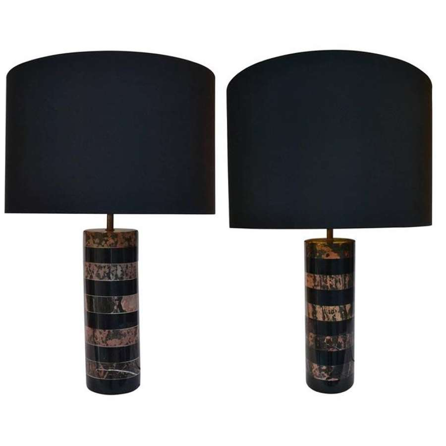 Pair of Marble Cylinder Table Lamps Rose and Black Italy