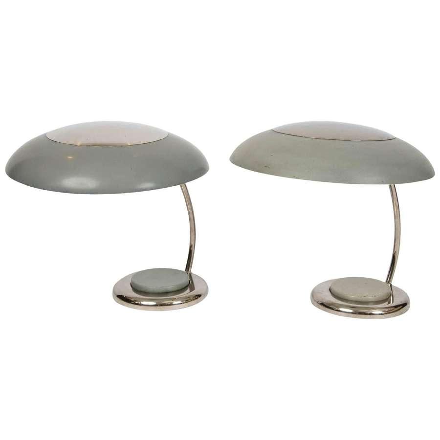 Pair of Desk or Table Lamps in Grey Metal Style Bauhaus