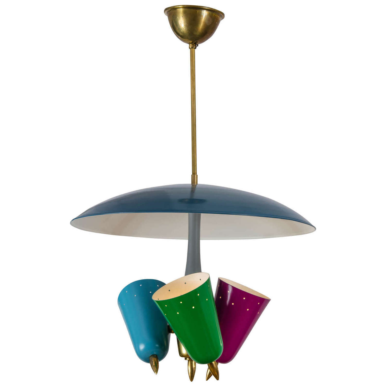 Pendant Lamp in Multi Color Metal Italy 1950's
