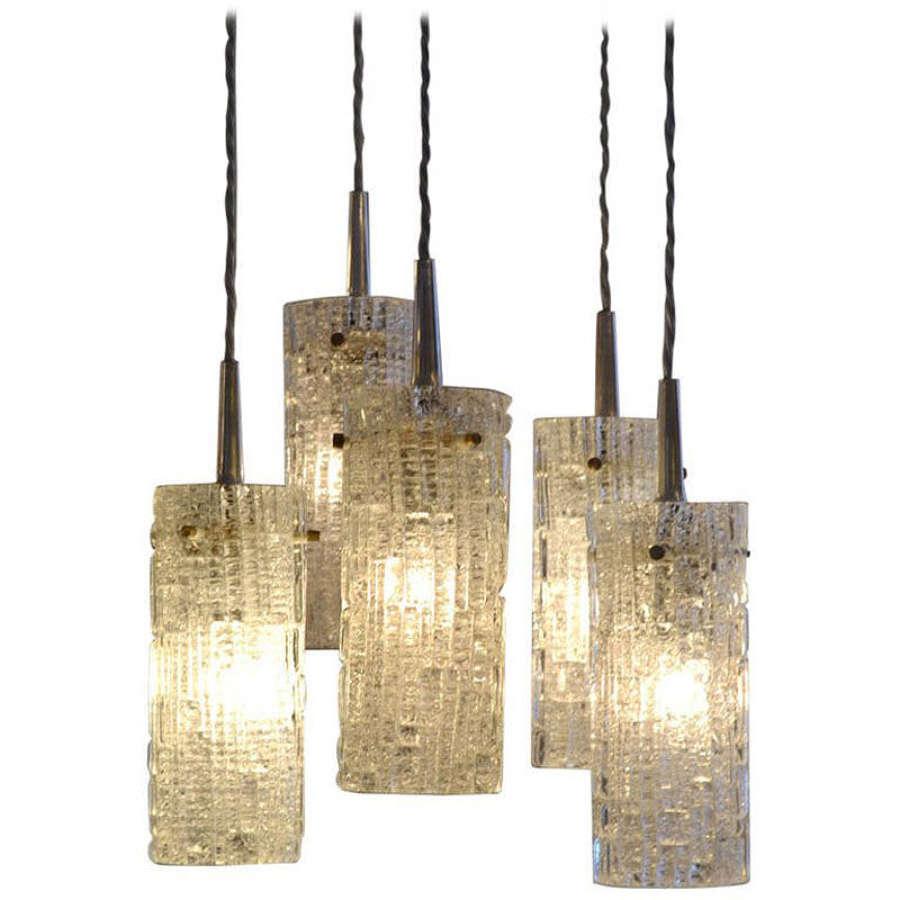 Five Tiered Glass Chandelier by Kalmar