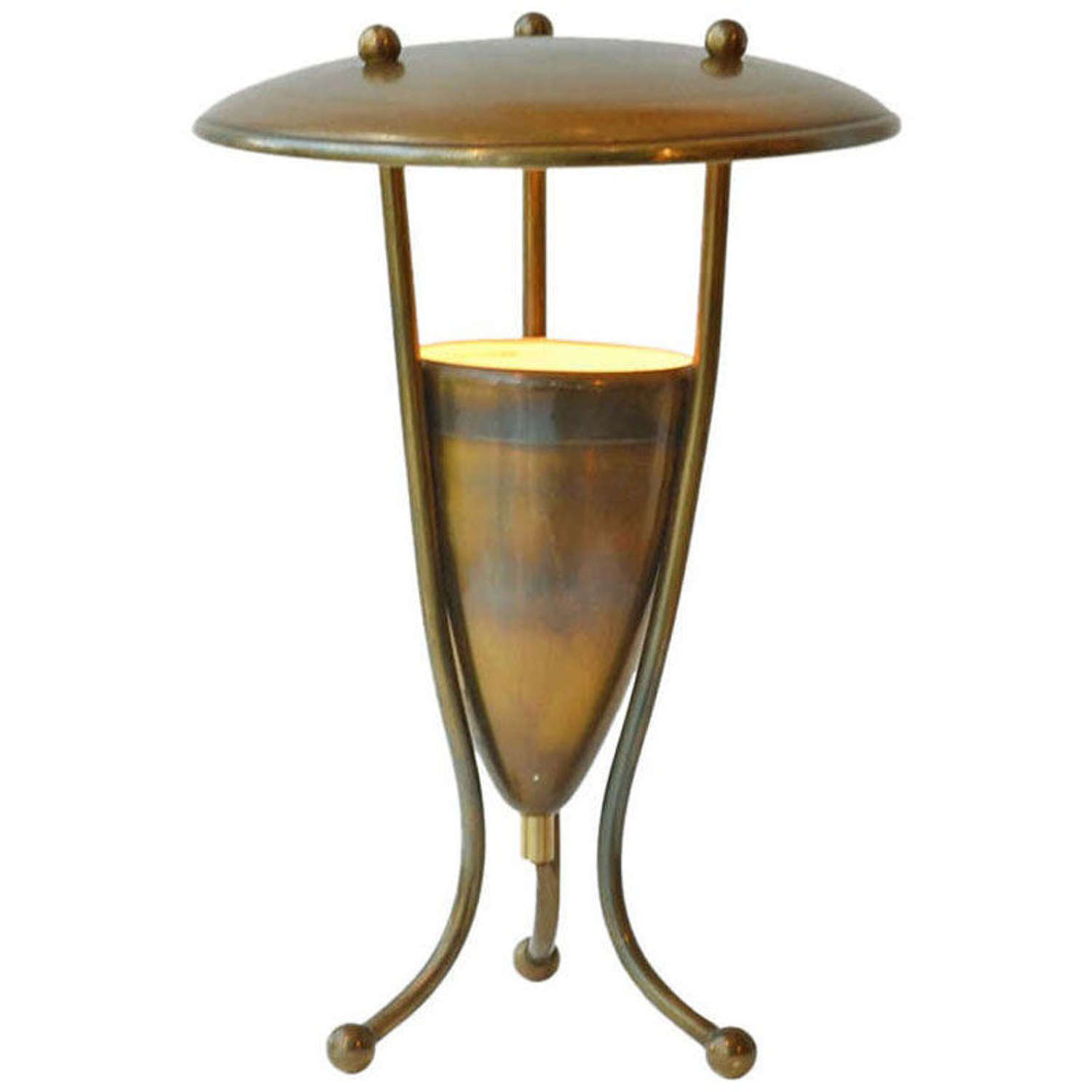 Brass Table Lamp on Tripod Legs French 1950's