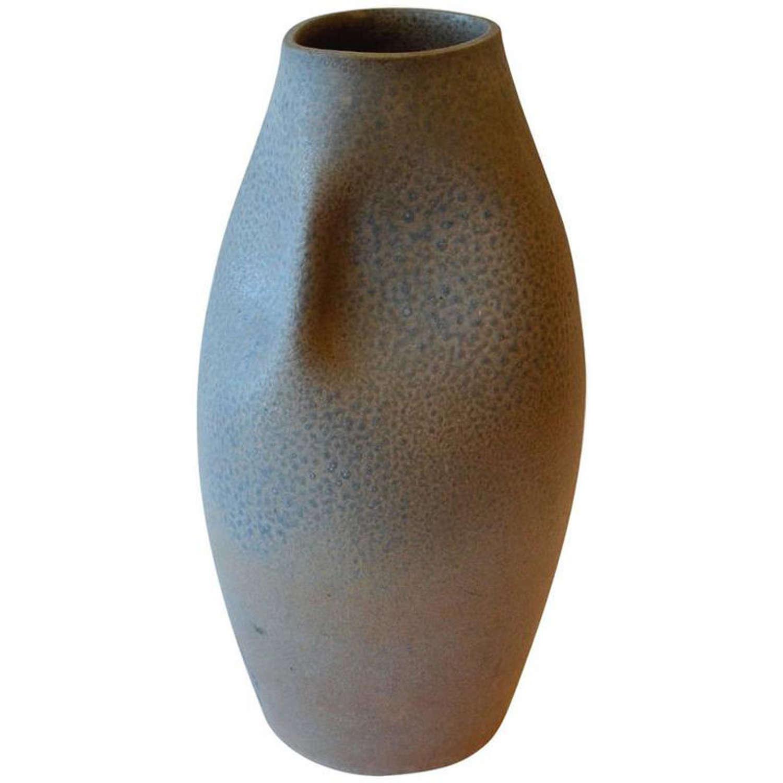 Large Ceramic Vase with Sea Blue Glaze