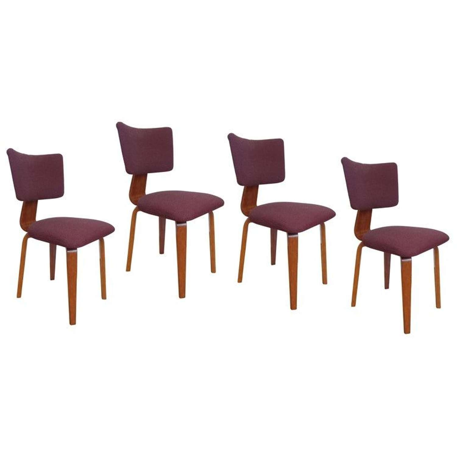 Four Plywood Dining Chairs by Dutch Cor Alons 1950's