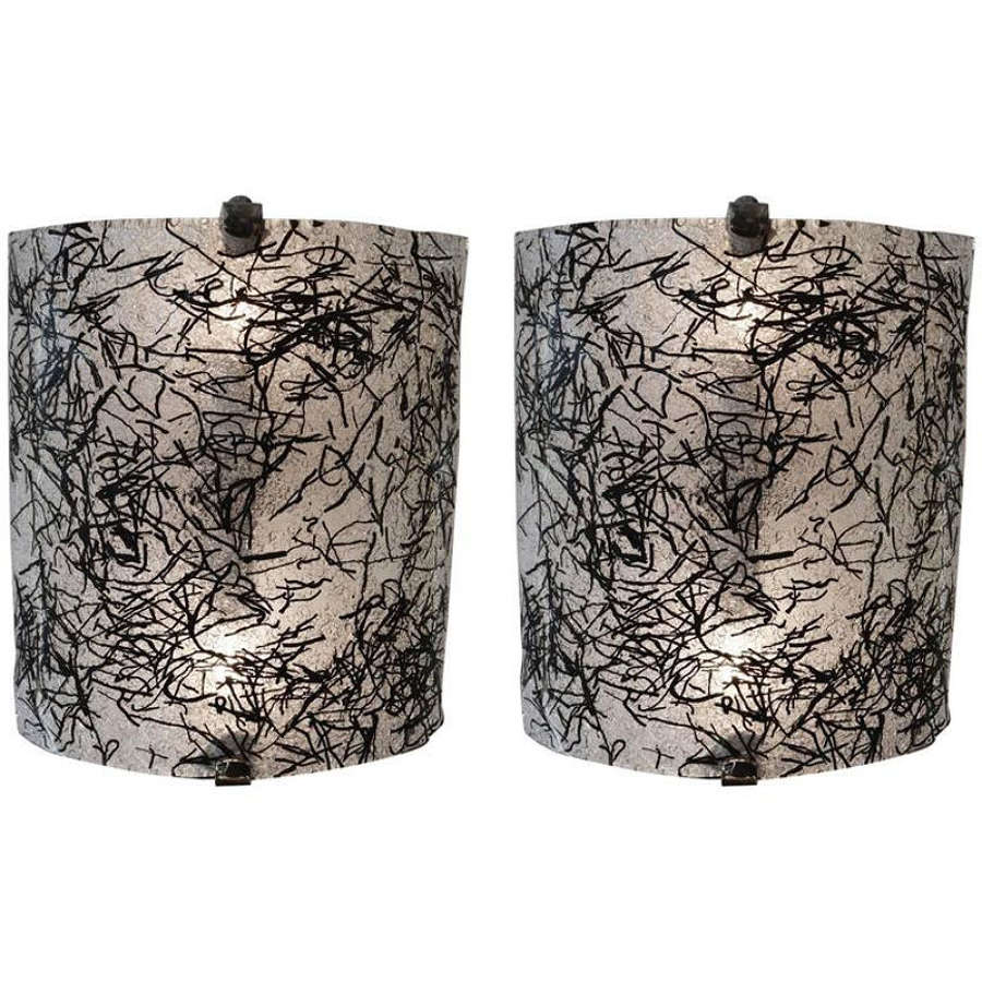 Pair of  Murano Glass Wall Sconces by De Majo, Italy