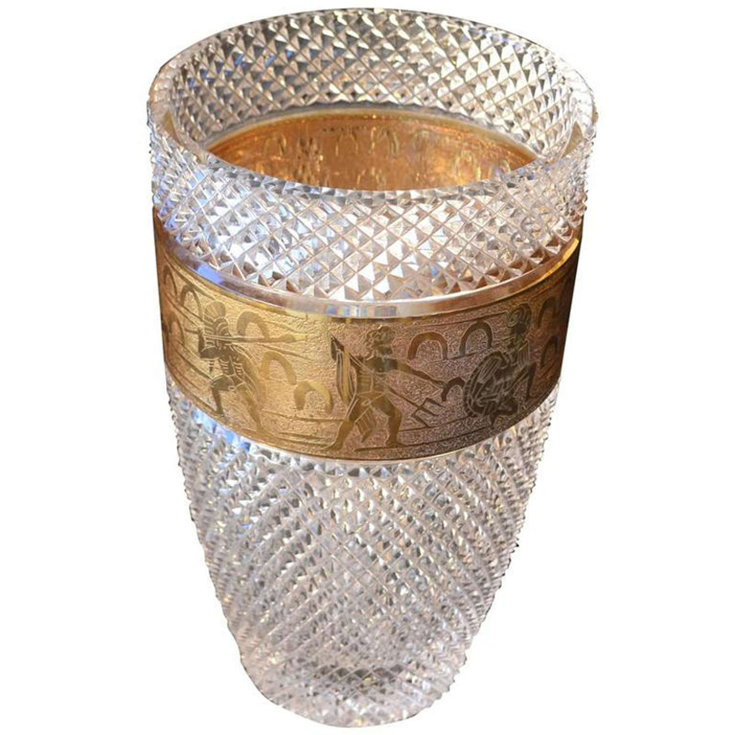 Crystal Vase by Moser with Gilded Frieze of warriors