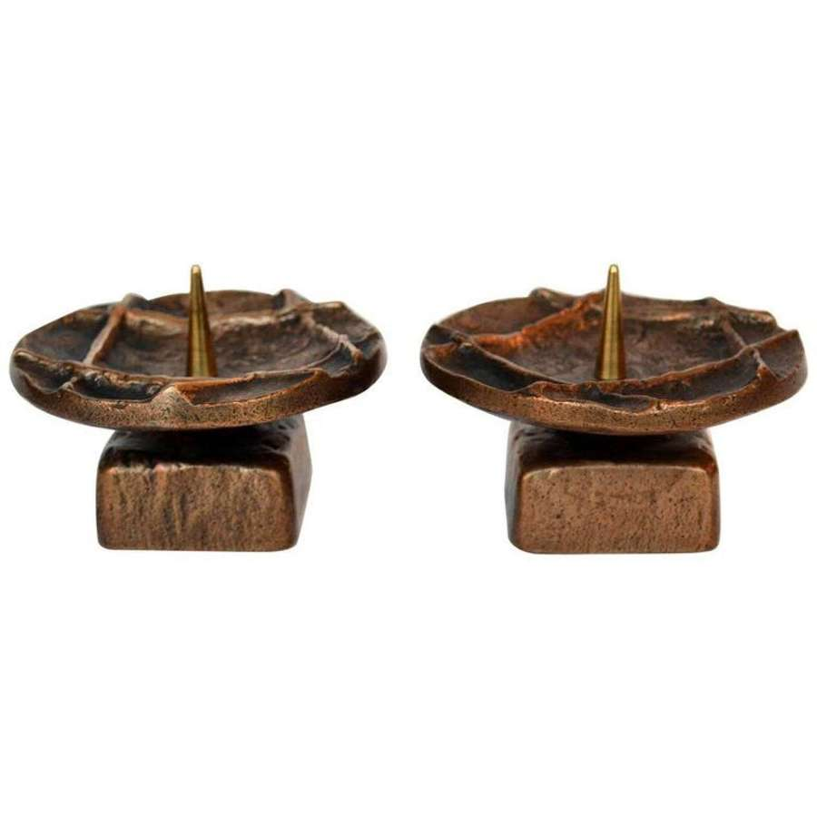 Pair of 1970's Brutalist Bronze Candle Holders