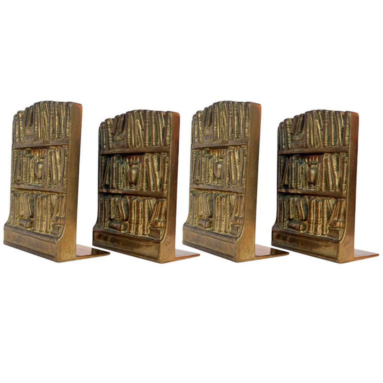 Four Bronze Cast Bookends Depicting Antique library