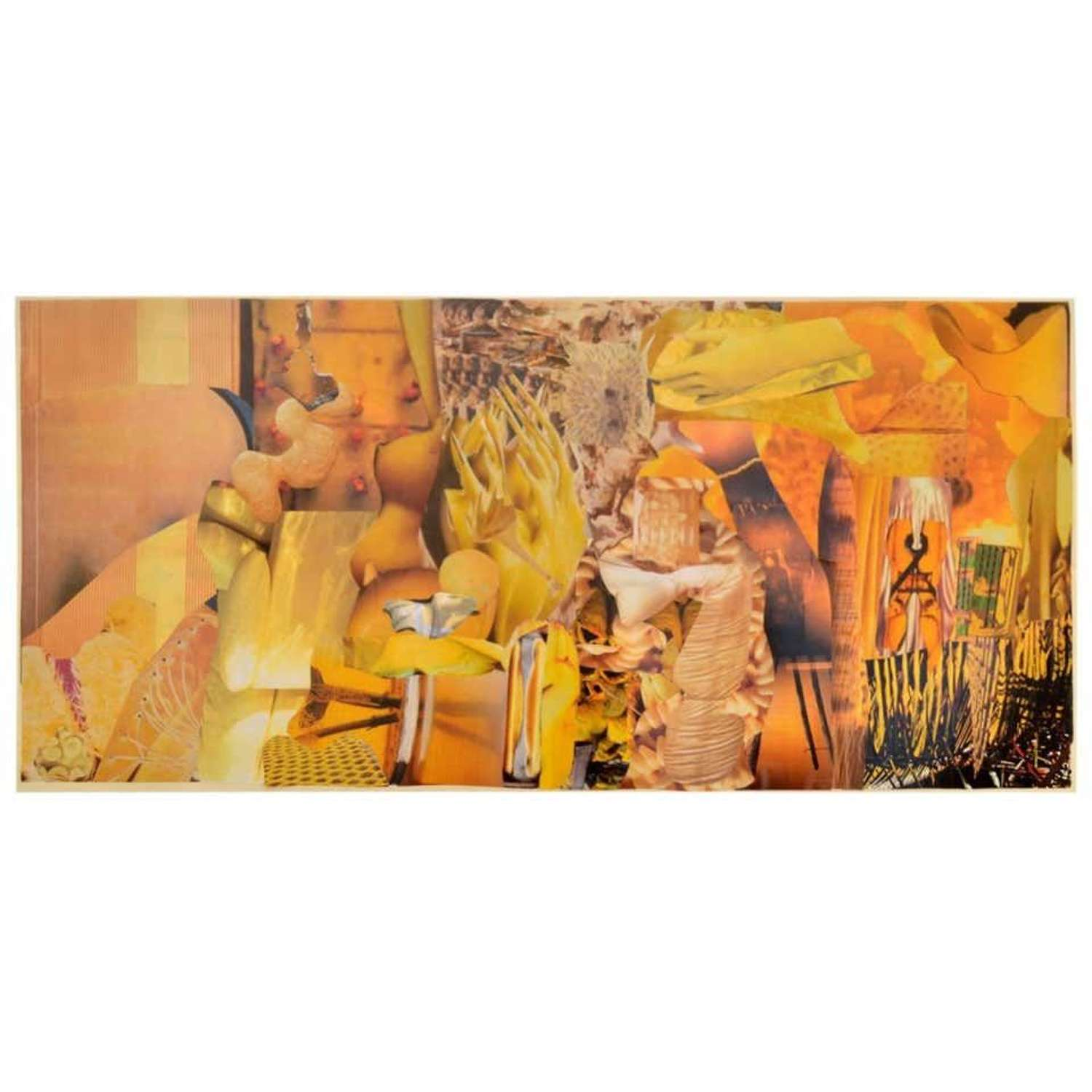 Abstract Collage Art in Yellow by B Allan, UK, 1993