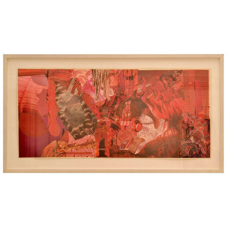 Abstract Collage Art in Red by B Allan, UK, 1993