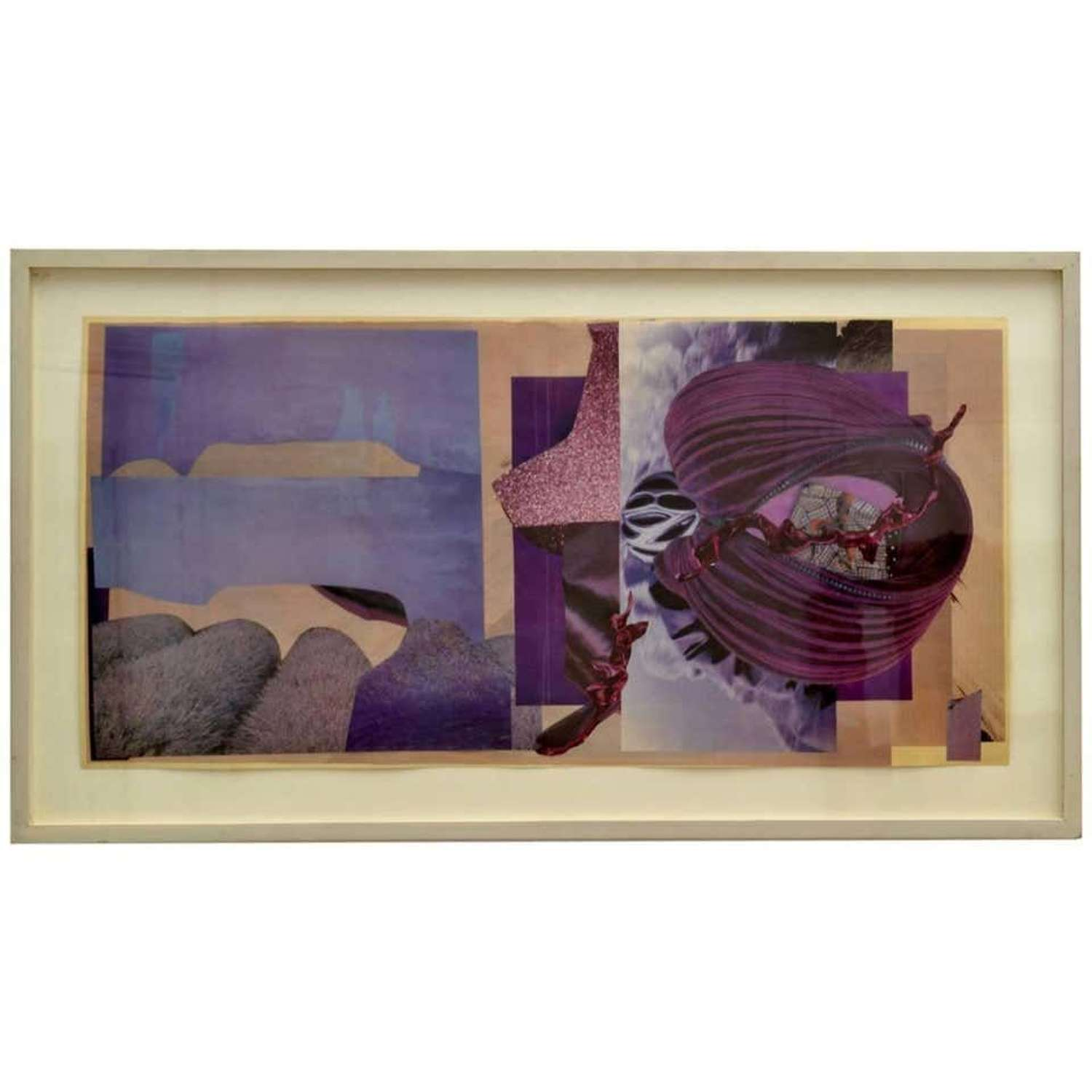 Abstract Collage Art in Purple by B Allan, UK, 1993