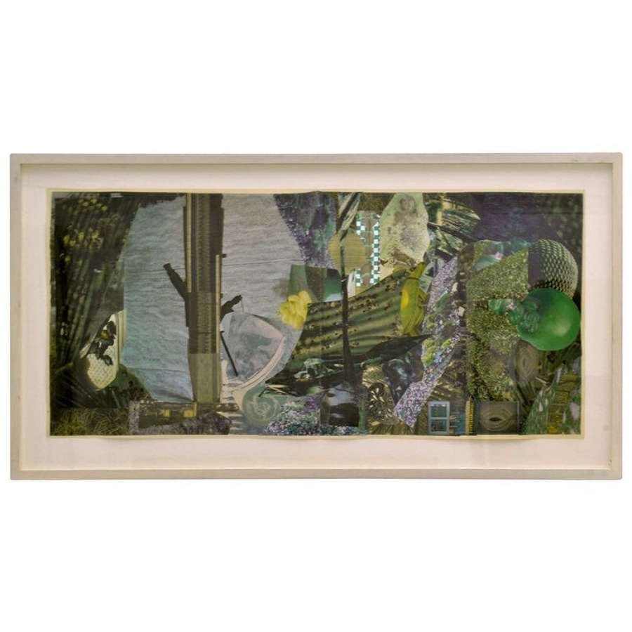 Abstract Collage Art in Green by B Allan, UK, 1993