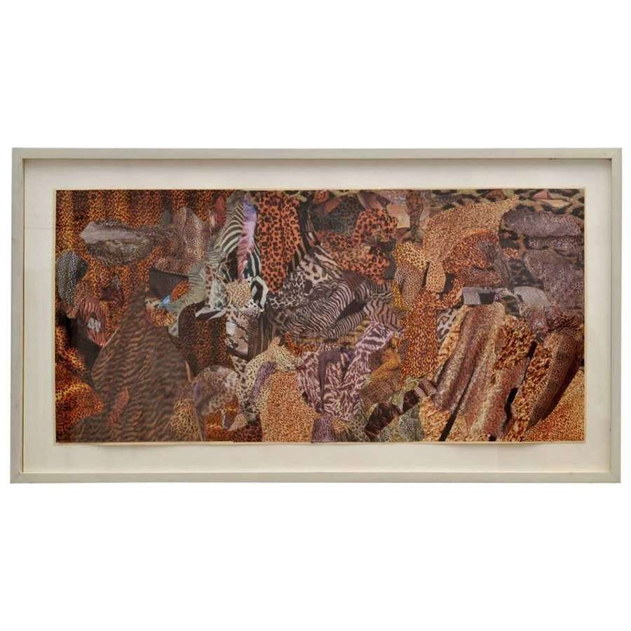 Abstract Collage Art in Brown by B Allan, UK, 1993