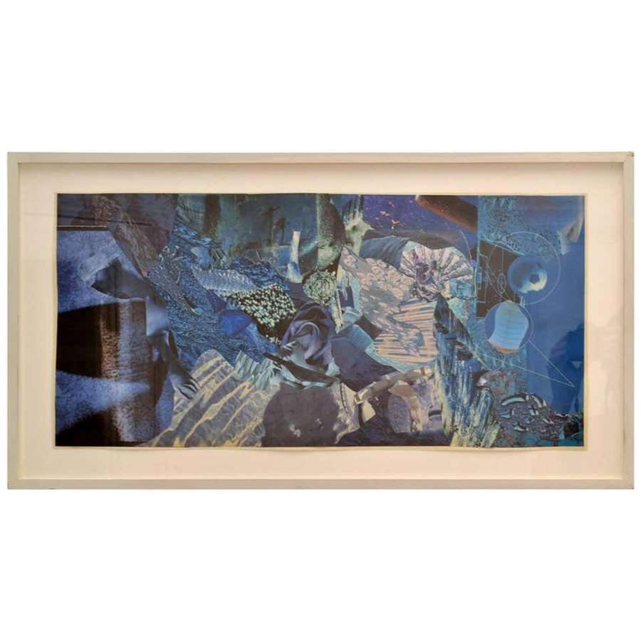 Abstract Collage Art in Blue by B Allan