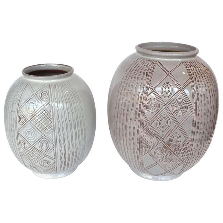 Pair of Large Cream Dutch Spinx Vases by Wim Visser
