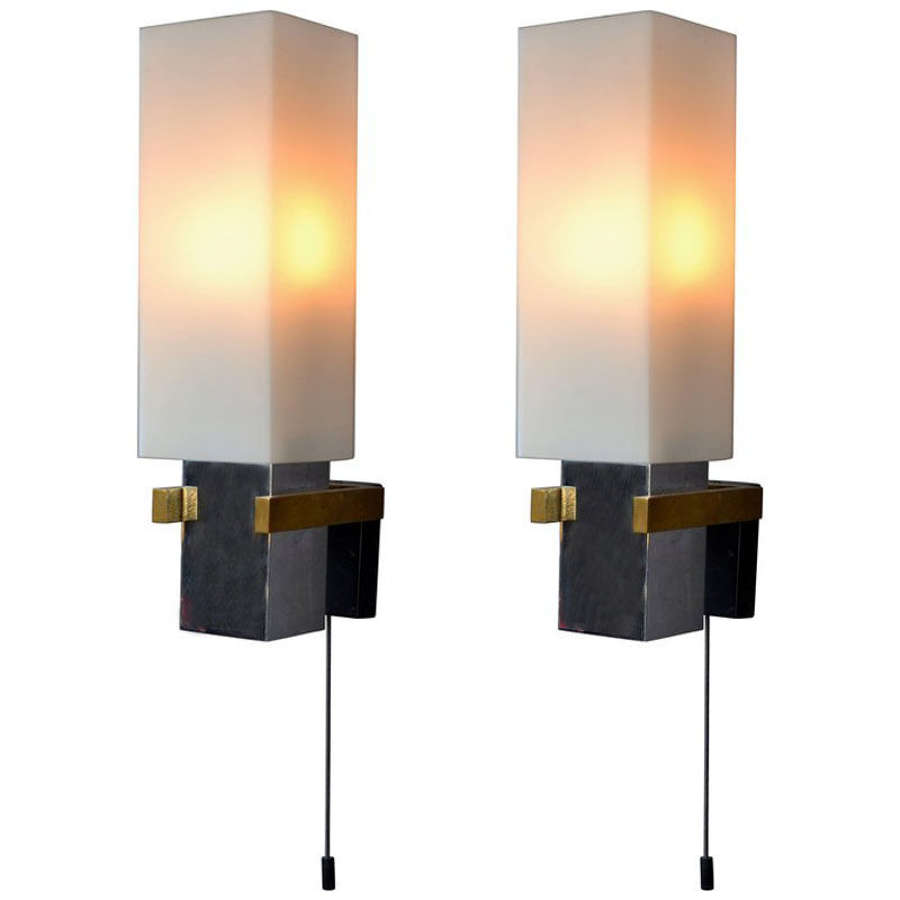 Pair of Wall Lights Italian with Glass Shades, Italy