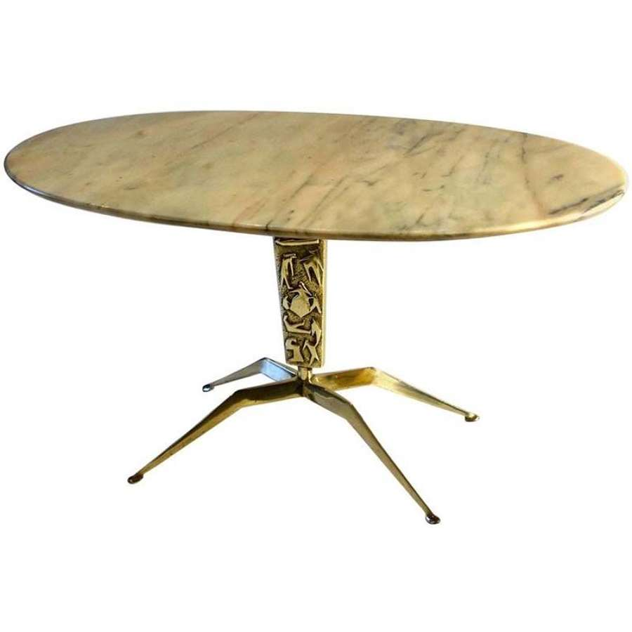 Bronze Coffee Table Oval Marble attributed to Barnabé