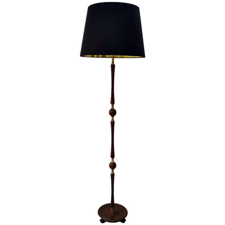 Floor Lamp Teak and Brass with Black Silk Shade