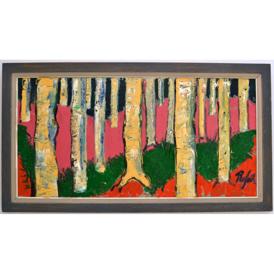 Large Expressive Birch Tree Landscape Painting by Rafael