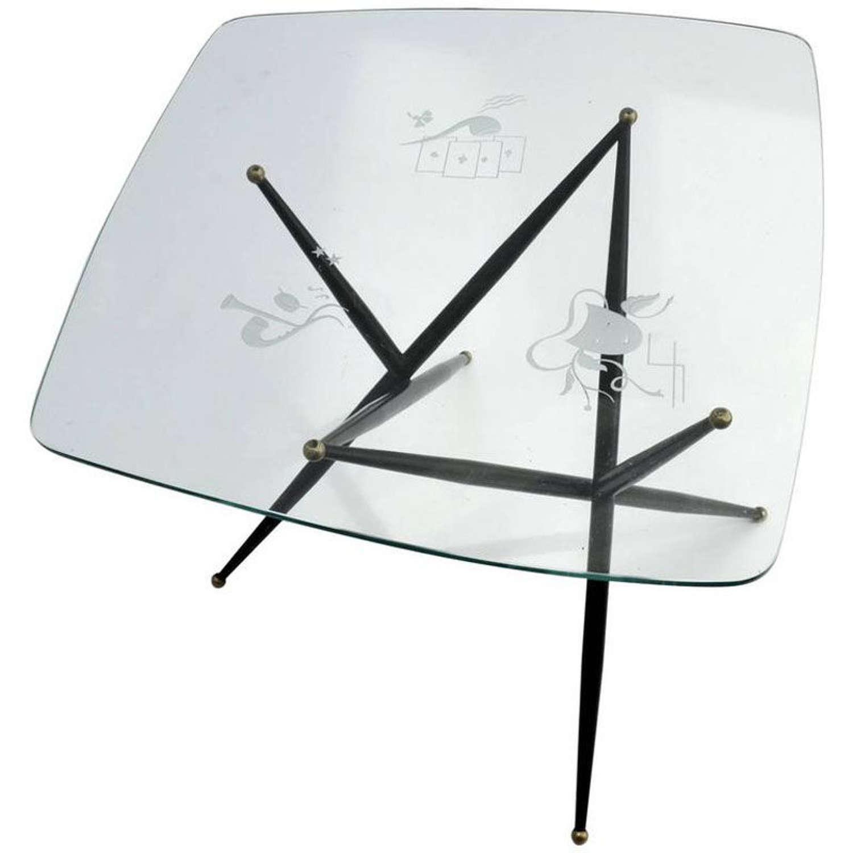 Italian Etched Glass Top Coffee Table on Black Metal Leg